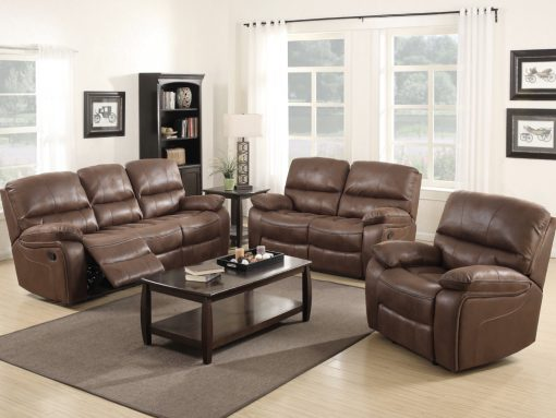 Carlton Chocolate Brown Leather Recliner Sofa Set