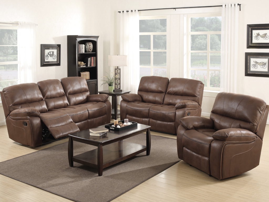 Annaghmore Carlton Chocolate Brown Leather Recliner Sofa Set Sweet