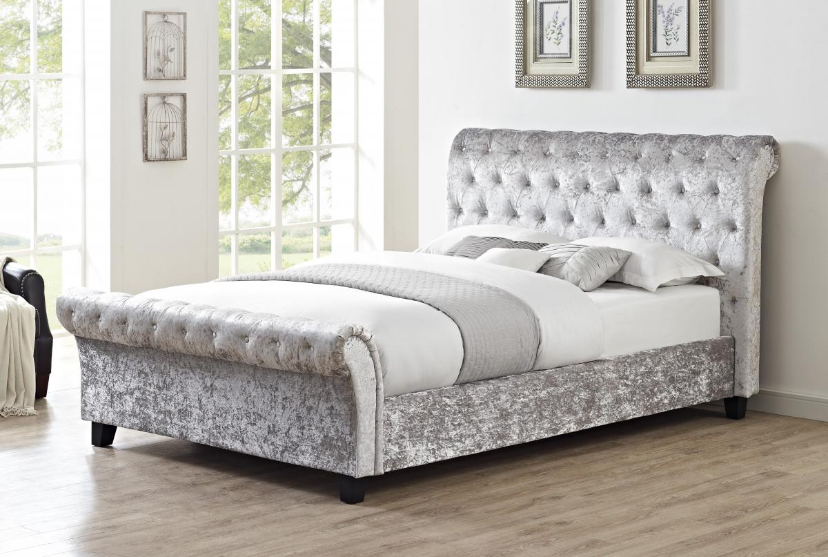 casablanca silver crushed velvet kingsize lfe bed frame. Black Bedroom Furniture Sets. Home Design Ideas