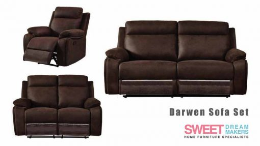 Darwen Chestnut Brown Leather Recliner Sofa Set