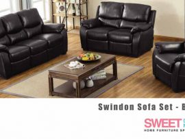 Swindon Black Leather Sofa Set