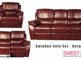 Swindon Burgundy Leather Recliner Sofa Set
