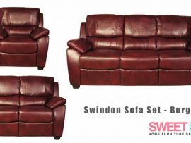 Swindon Burgundy Leather Sofa Set