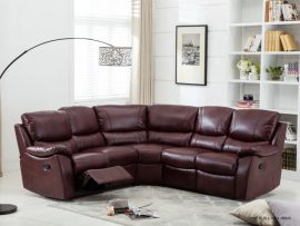 Annaghmore Swindon Brown Leather Recliner Corner Suite Burgundy