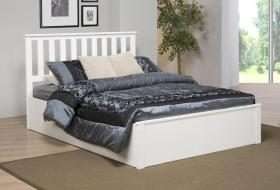 Zoe White Wooden Kingsize Ottoman Bed Frame
