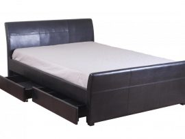 Viva Pu Leather 4 Drawer Double Bed Frame Black And Brown