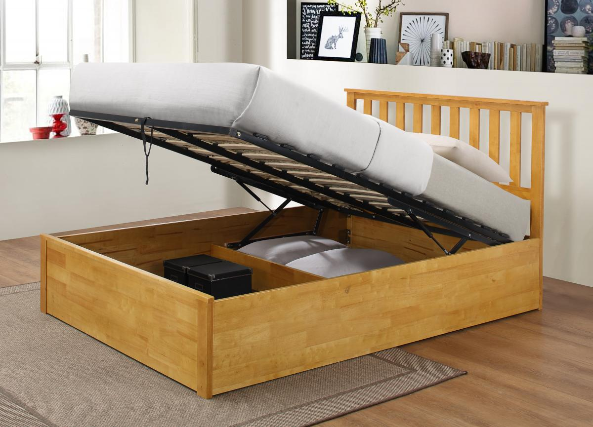 zoe solid wooden double ottoman bed frame sweet dream makers. Black Bedroom Furniture Sets. Home Design Ideas