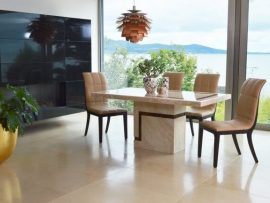 Filippo Cream Marble 1200 Dining Set