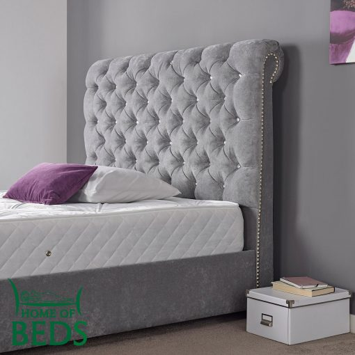 Home Of Beds Hannah Small Double Fabric Bed Frame Headboard
