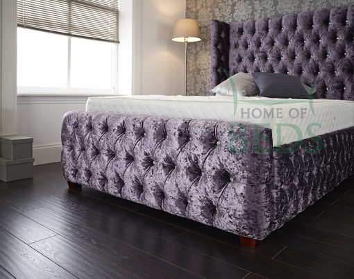 Home Of Beds Viceroy Crushed Velvet Small Double Bed Frame Footboard