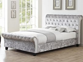 Casablanca Silver Crushed Velvet Double Sleigh Bed Frame