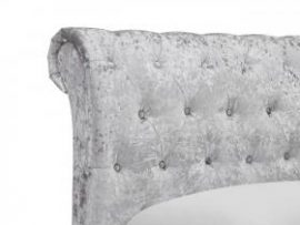 Casablanca Silver Crushed Velvet Kingsize LFE Bed Frame Headboard