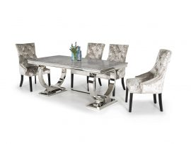 Arianna 1800 Grey Marble Dining Set